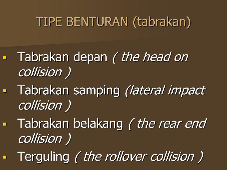 TIPE BENTURAN (tabrakan)