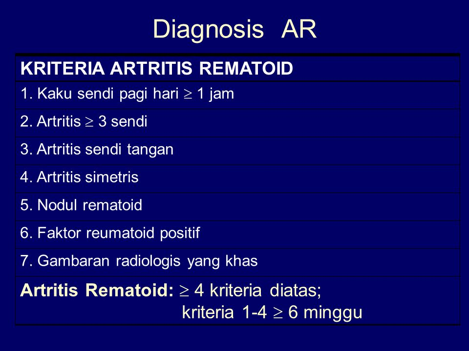 Diagnosis AR KRITERIA ARTRITIS REMATOID
