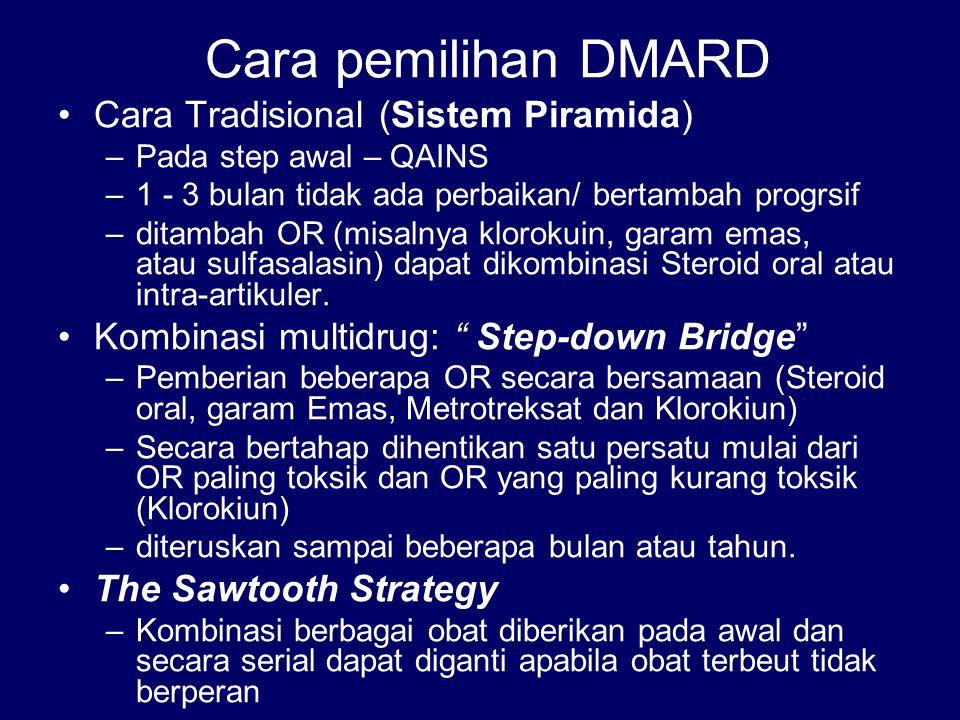 Cara pemilihan DMARD Cara Tradisional (Sistem Piramida)