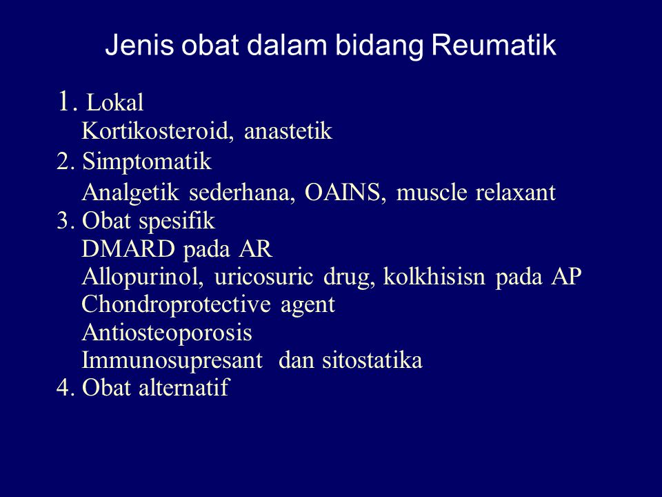 Jenis obat dalam bidang Reumatik