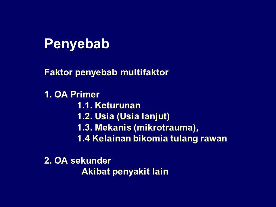 Penyebab Faktor penyebab multifaktor 1. OA Primer 1.1. Keturunan