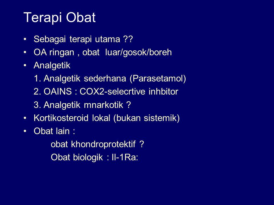 Terapi Obat Sebagai terapi utama OA ringan , obat luar/gosok/boreh