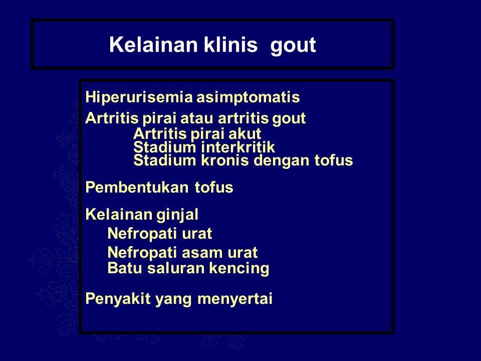 Kelainan klinis gout Hiperurisemia asimptomatis