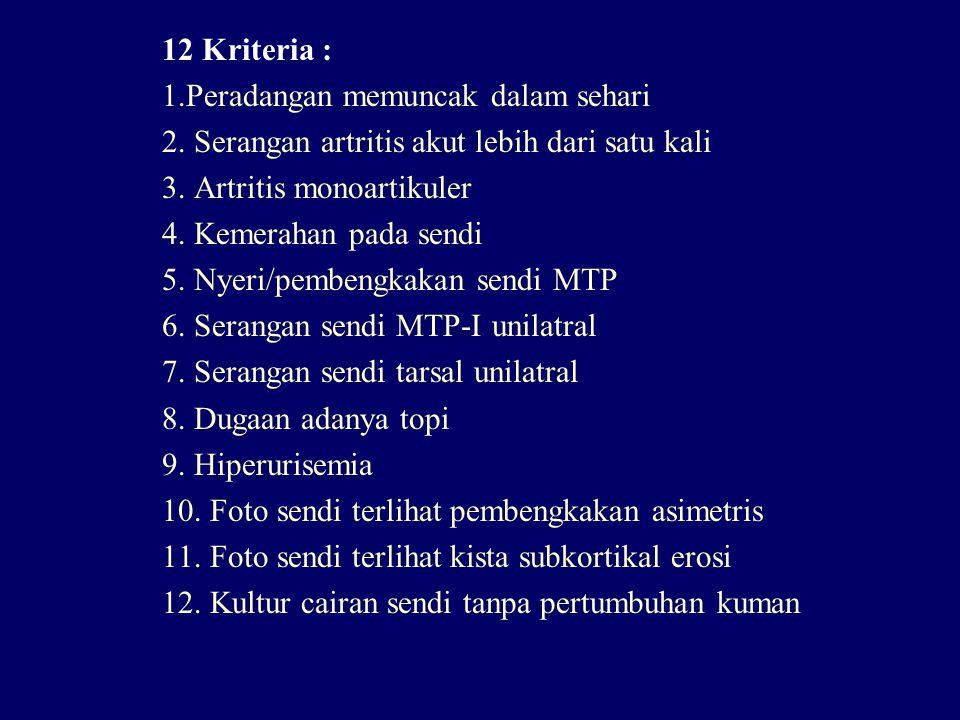 12 Kriteria : 1.Peradangan memuncak dalam sehari. 2. Serangan artritis akut lebih dari satu kali. 3. Artritis monoartikuler.