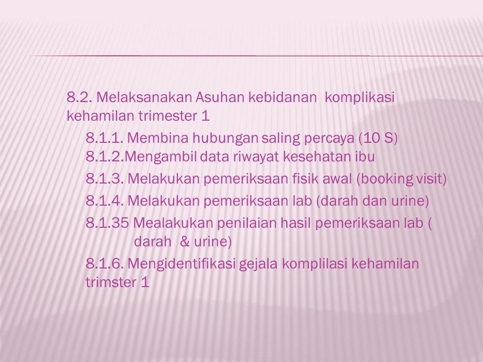 8. 2. Melaksanakan Asuhan kebidanan komplikasi kehamilan trimester 1 8