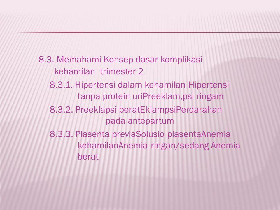 8.3. Memahami Konsep dasar komplikasi kehamilan trimester 2