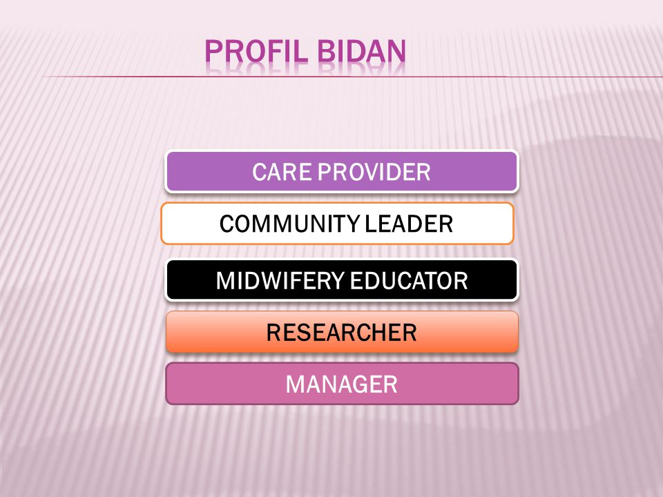 PROFIL BIDAN CARE PROVIDER COMMUNITY LEADER MIDWIFERY EDUCATOR