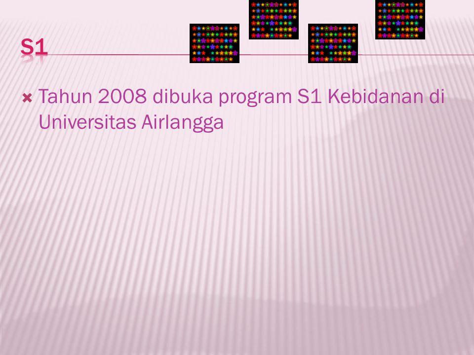 S1 Tahun 2008 dibuka program S1 Kebidanan di Universitas Airlangga