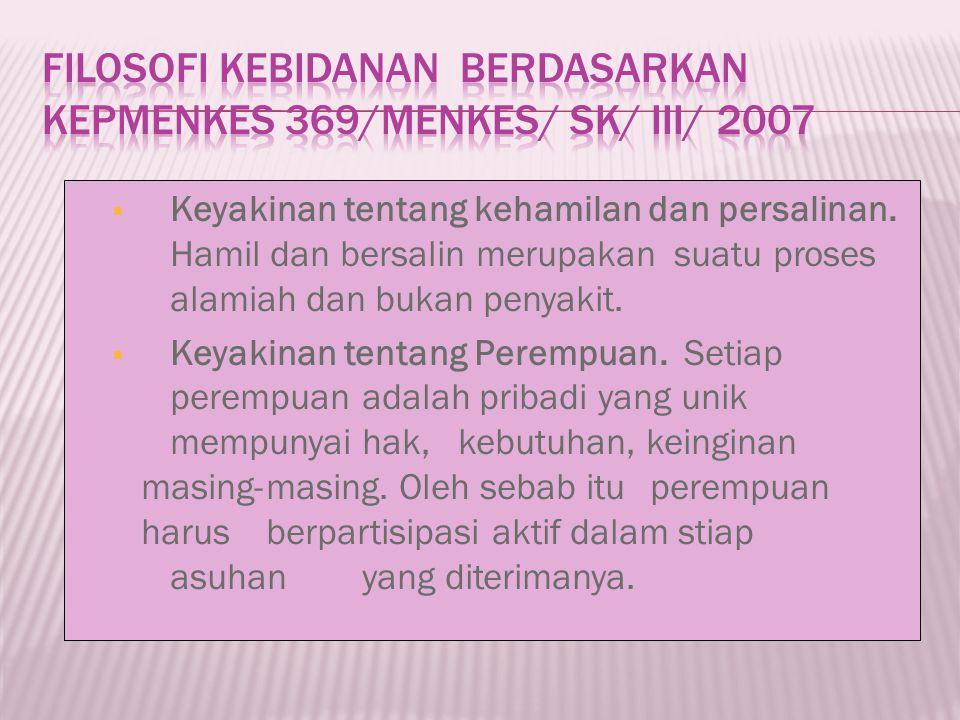 Filosofi Kebidanan berdasarkan Kepmenkes 369/MENKES/ SK/ III/ 2007
