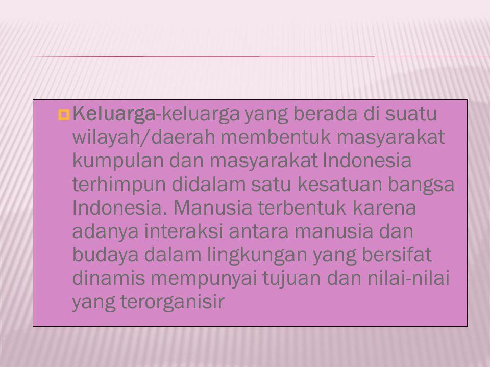 Keluarga-keluarga yang berada di suatu wilayah/daerah membentuk masyarakat kumpulan dan masyarakat Indonesia terhimpun didalam satu kesatuan bangsa Indonesia.
