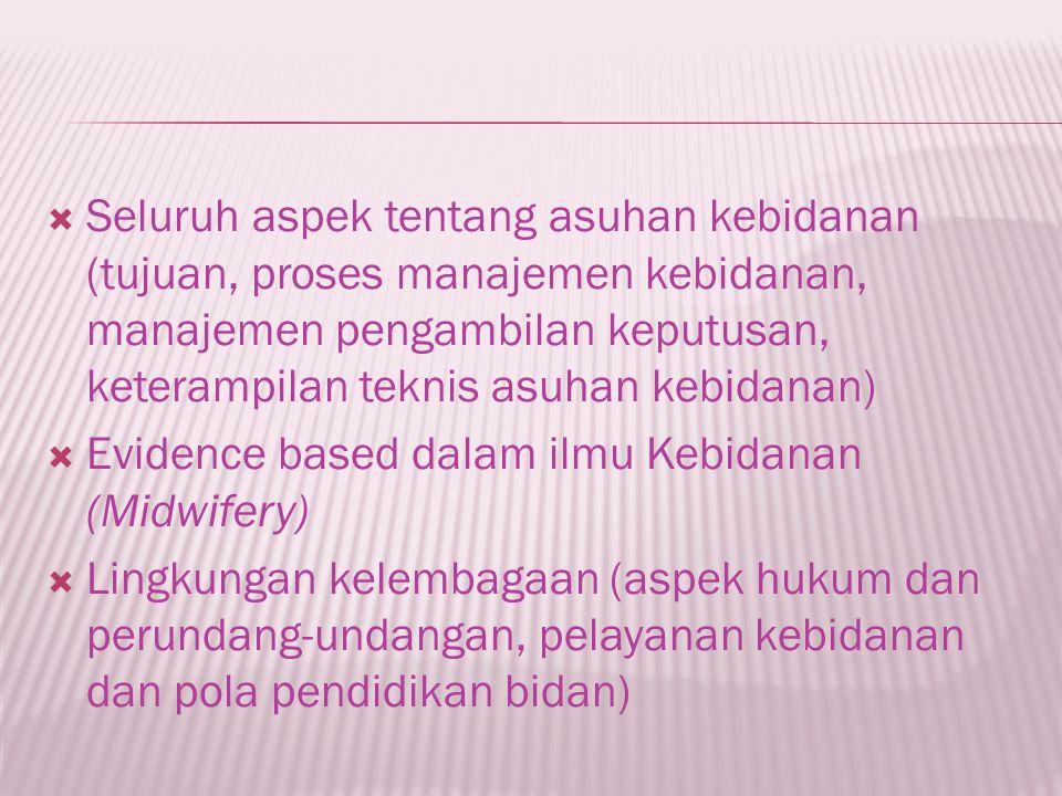 Seluruh aspek tentang asuhan kebidanan (tujuan, proses manajemen kebidanan, manajemen pengambilan keputusan, keterampilan teknis asuhan kebidanan)