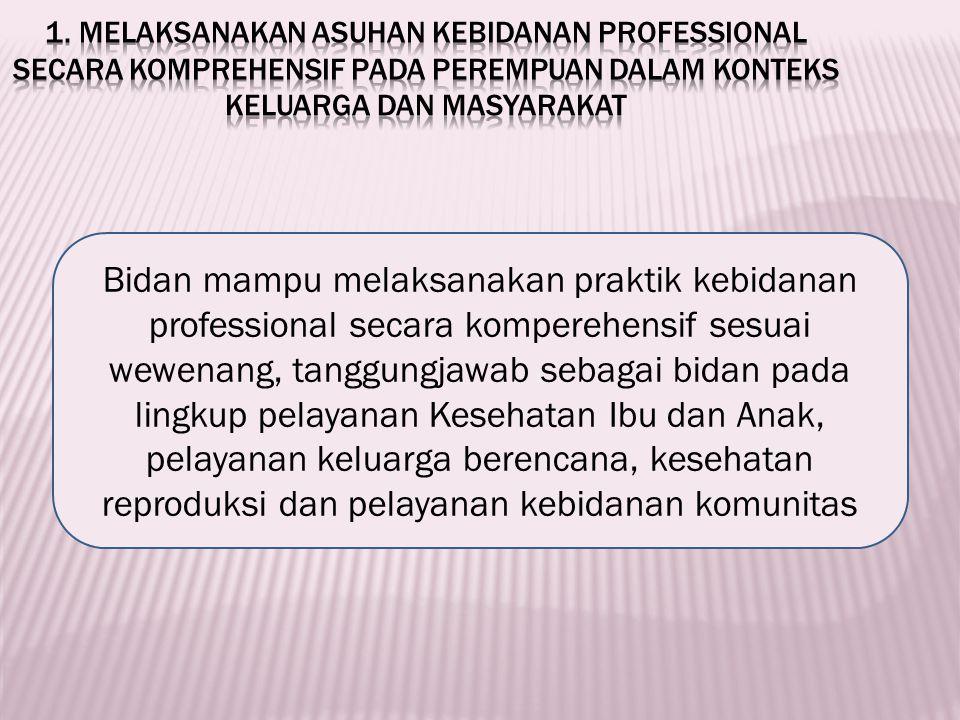 1. Melaksanakan asuhan kebidanan professional secara komprehensif pada perempuan dalam konteks keluarga dan masyarakat