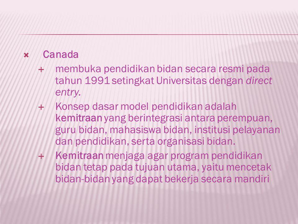 Canada membuka pendidikan bidan secara resmi pada tahun 1991 setingkat Universitas dengan direct entry.