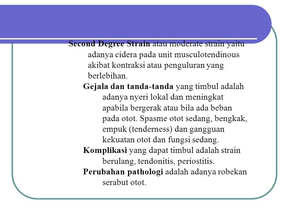 Second Degree Strain atau moderate strain yaitu adanya cidera pada unit musculotendinous akibat kontraksi atau penguluran yang berlebihan.