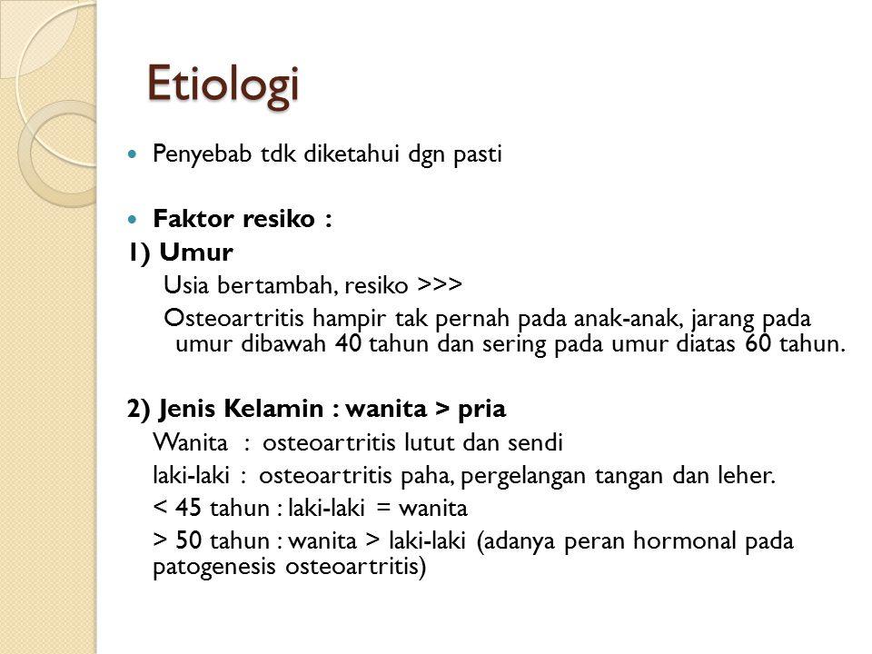 Etiologi Penyebab tdk diketahui dgn pasti Faktor resiko : 1) Umur