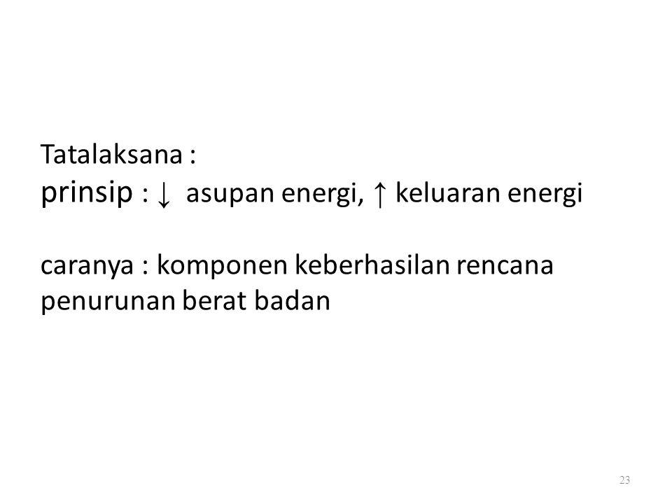 prinsip : ↓ asupan energi, ↑ keluaran energi