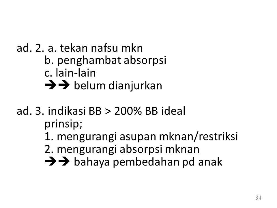 ad. 3. indikasi BB > 200% BB ideal