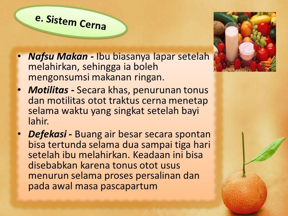 e. Sistem Cerna Nafsu Makan - Ibu biasanya lapar setelah melahirkan, sehingga ia boleh mengonsumsi makanan ringan.