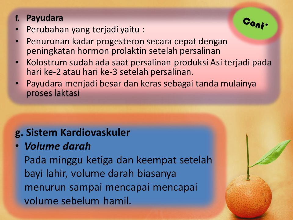 g. Sistem Kardiovaskuler Volume darah