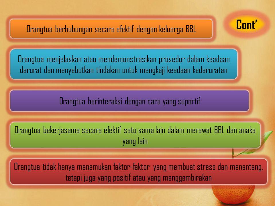 Cont' Orangtua berhubungan secara efektif dengan keluarga BBL