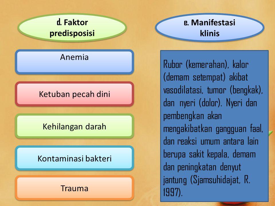d. Faktor predisposisi e. Manifestasi klinis. Anemia.