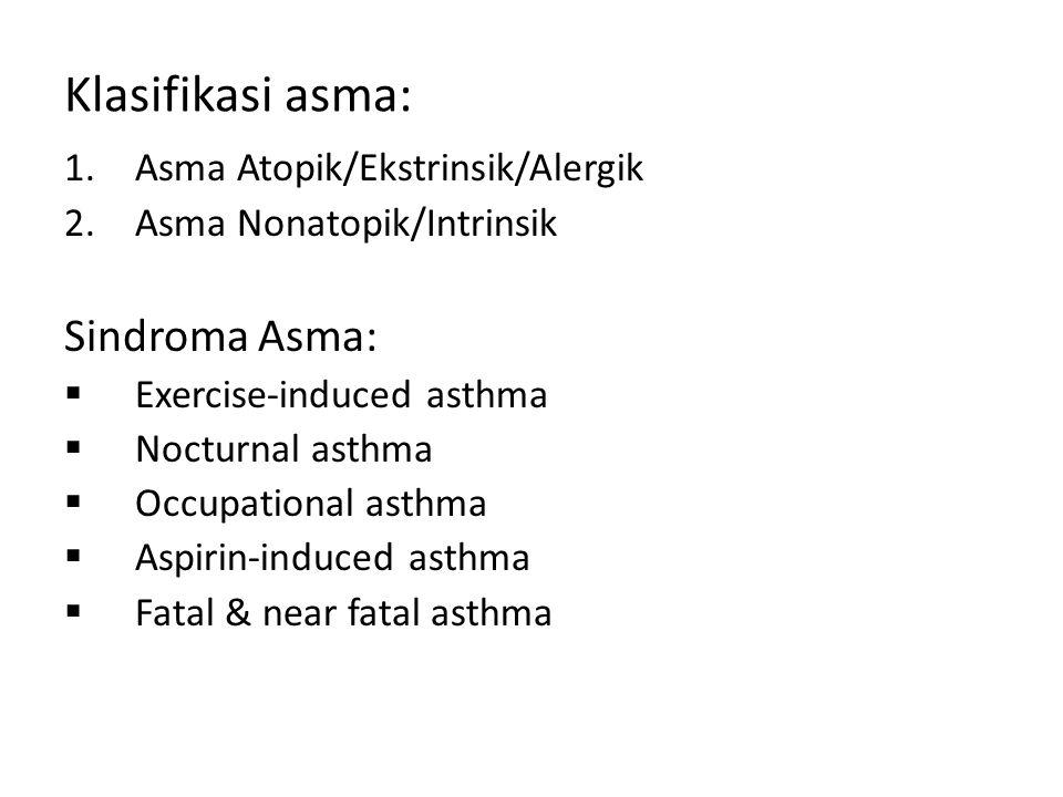 Klasifikasi asma: Sindroma Asma: Asma Atopik/Ekstrinsik/Alergik