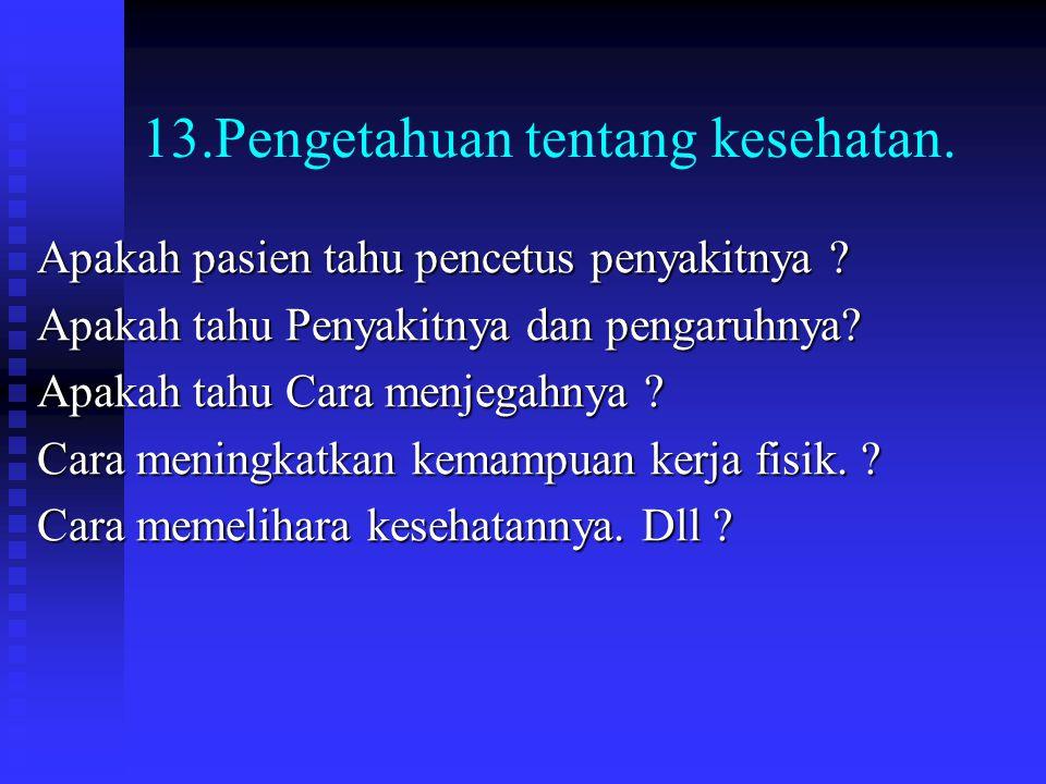 13.Pengetahuan tentang kesehatan.