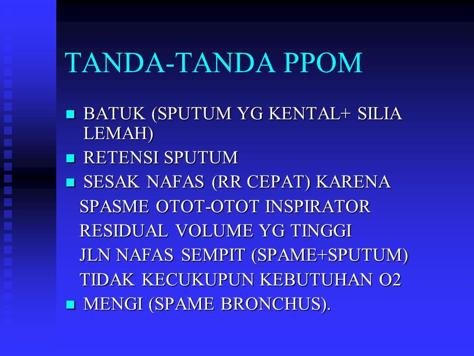TANDA-TANDA PPOM BATUK (SPUTUM YG KENTAL+ SILIA LEMAH) RETENSI SPUTUM
