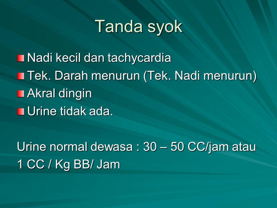 Tanda syok Nadi kecil dan tachycardia