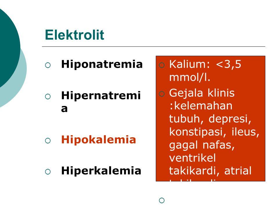 Elektrolit Hiponatremia Hipernatremia Hipokalemia Hiperkalemia