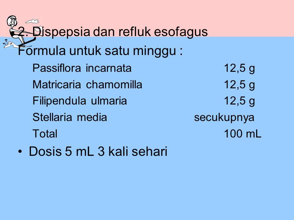 2. Dispepsia dan refluk esofagus Formula untuk satu minggu :