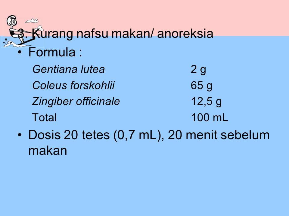 3. Kurang nafsu makan/ anoreksia Formula :