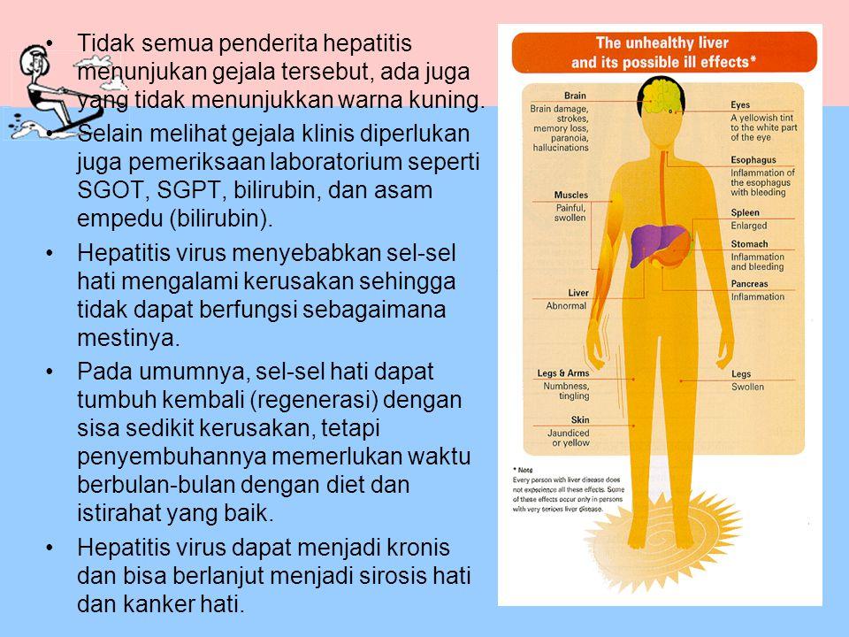Tidak semua penderita hepatitis menunjukan gejala tersebut, ada juga yang tidak menunjukkan warna kuning.