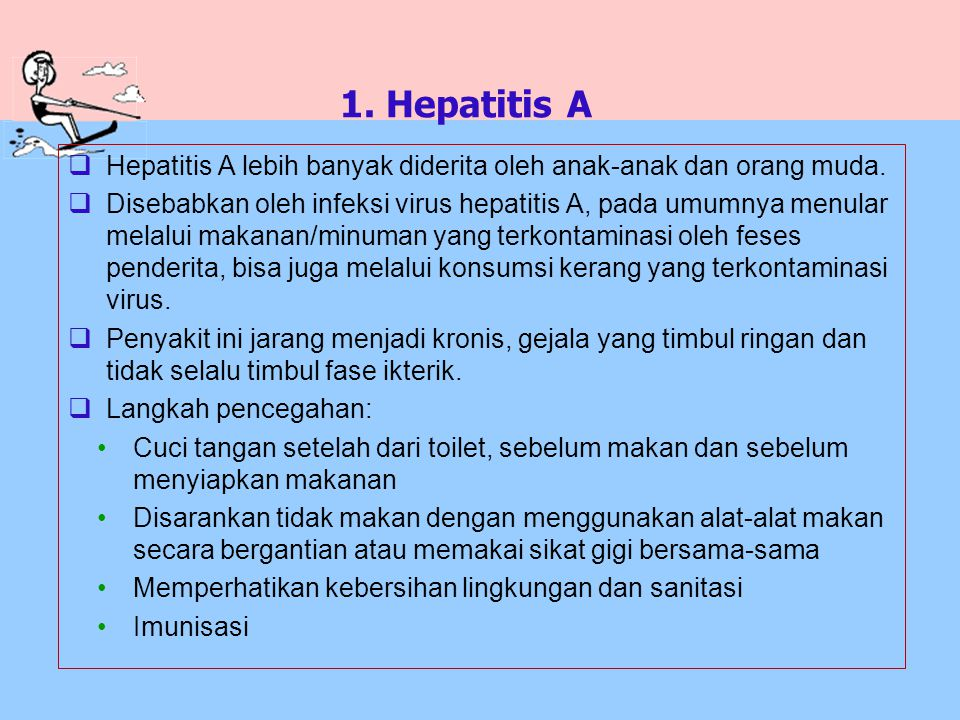 1. Hepatitis A Hepatitis A lebih banyak diderita oleh anak-anak dan orang muda.