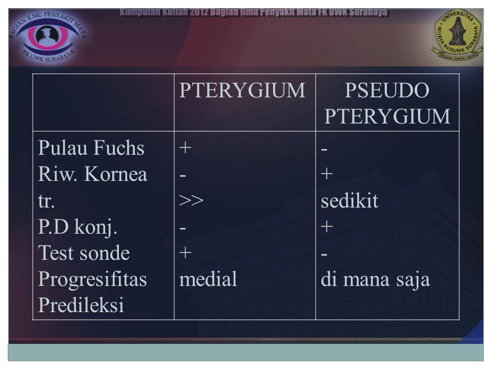 PTERYGIUM PSEUDO PTERYGIUM. Pulau Fuchs. Riw. Kornea tr. P.D konj. Test sonde. Progresifitas. Predileksi.