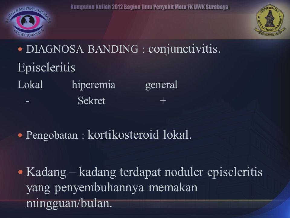 DIAGNOSA BANDING : conjunctivitis.