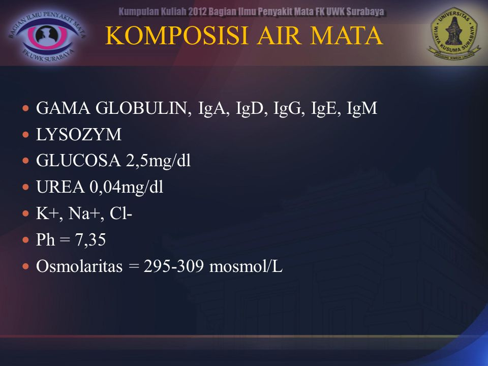 KOMPOSISI AIR MATA GAMA GLOBULIN, IgA, IgD, IgG, IgE, IgM LYSOZYM