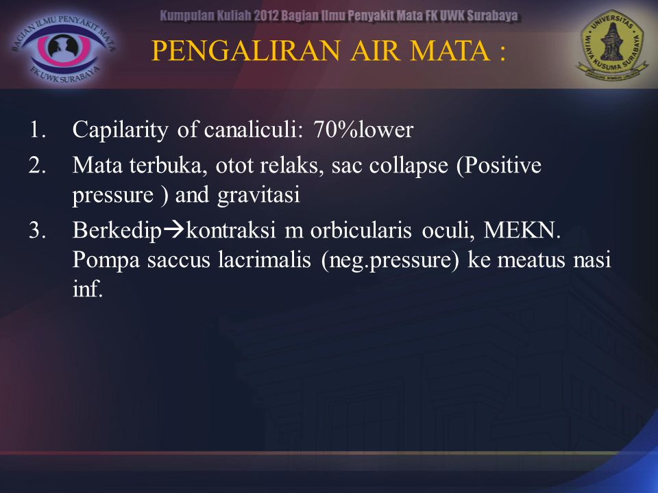 PENGALIRAN AIR MATA : Capilarity of canaliculi: 70%lower