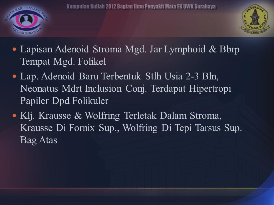 Lapisan Adenoid Stroma Mgd. Jar Lymphoid & Bbrp Tempat Mgd. Folikel