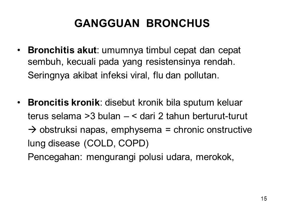 GANGGUAN BRONCHUS Bronchitis akut: umumnya timbul cepat dan cepat sembuh, kecuali pada yang resistensinya rendah.