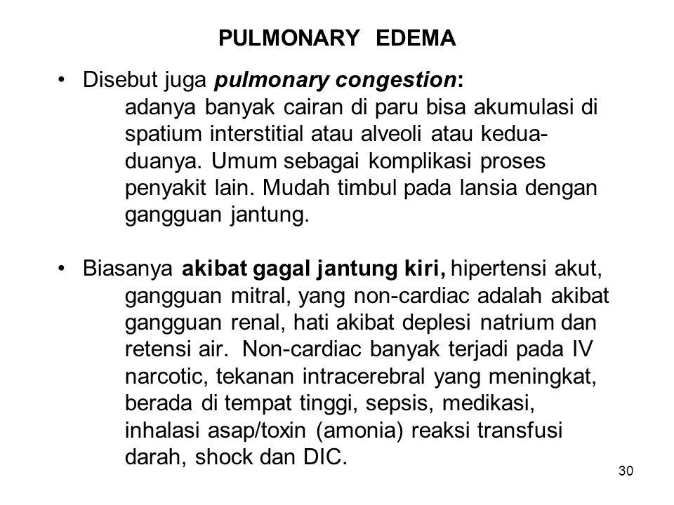 PULMONARY EDEMA Disebut juga pulmonary congestion: adanya banyak cairan di paru bisa akumulasi di.