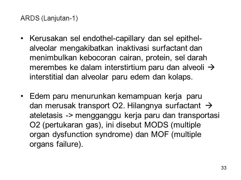 Kerusakan sel endothel-capillary dan sel epithel-