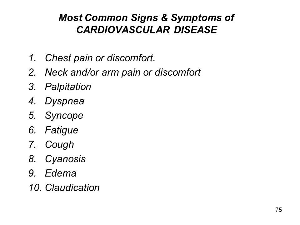 Most Common Signs & Symptoms of CARDIOVASCULAR DISEASE