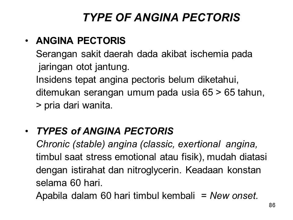 TYPE OF ANGINA PECTORIS