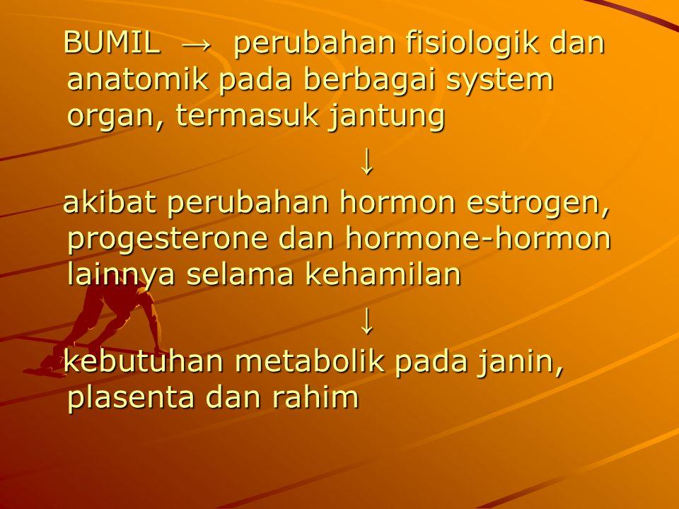 BUMIL → perubahan fisiologik dan anatomik pada berbagai system organ, termasuk jantung