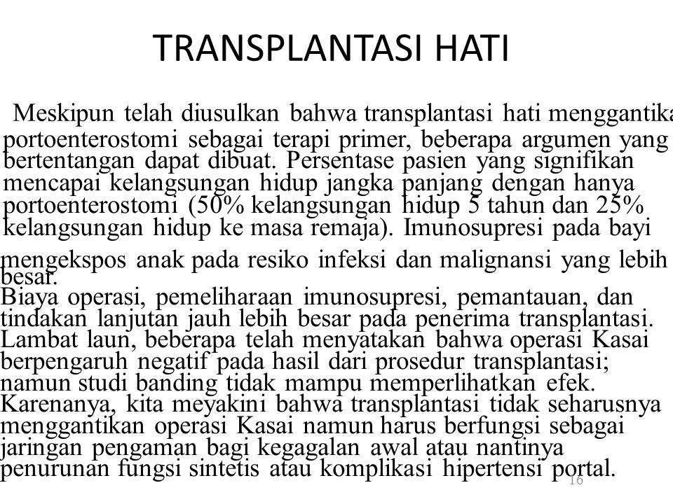 TRANSPLANTASI HATI • Meskipun telah diusulkan bahwa transplantasi hati menggantikan.