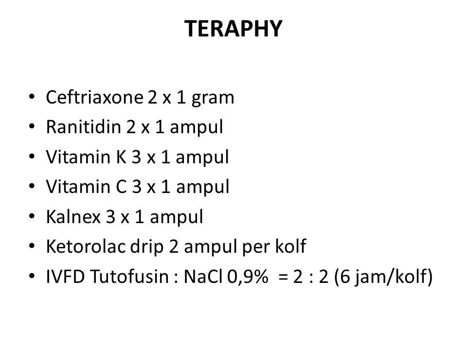 TERAPHY Ceftriaxone 2 x 1 gram Ranitidin 2 x 1 ampul