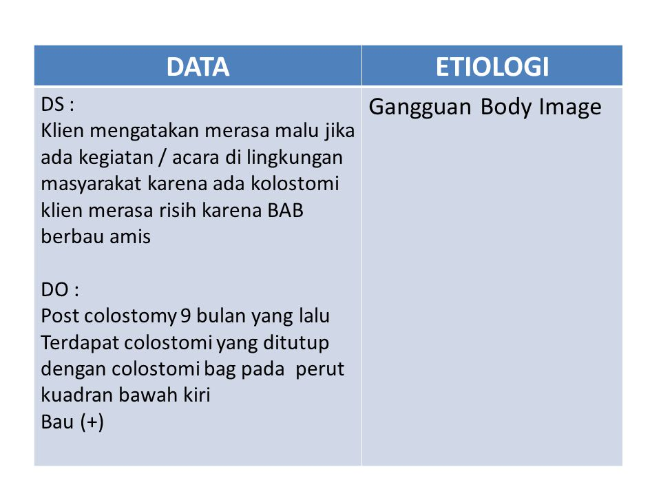 DATA ETIOLOGI Gangguan Body Image DS :
