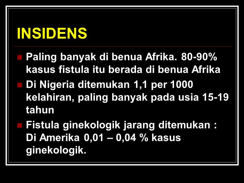 INSIDENS Paling banyak di benua Afrika. 80-90% kasus fistula itu berada di benua Afrika.