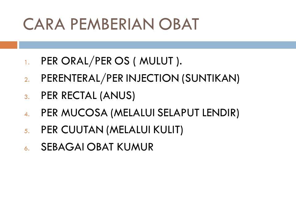 CARA PEMBERIAN OBAT PER ORAL/PER OS ( MULUT ).